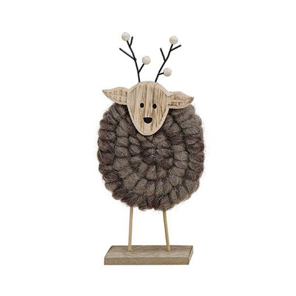 Elch aus Holz mit Wolle, 13 x 5 x 27, braun