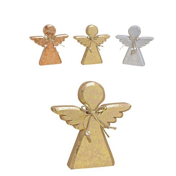 Engel aus Holz, 13 x 2 x 14 cm, gold