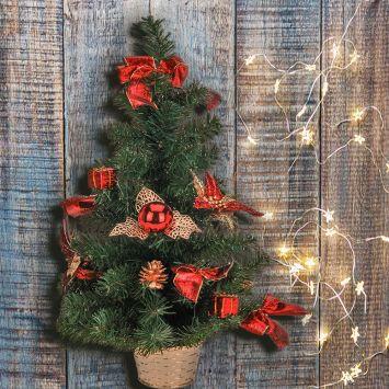 Deko Mini-Tischweihnachtsbaum - Künstlicher Tannenbaum, rot, 60 cm