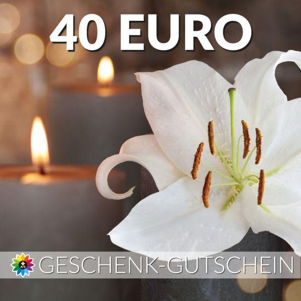 Geschenk-Gutschein, Wert 40 Euro Kerze