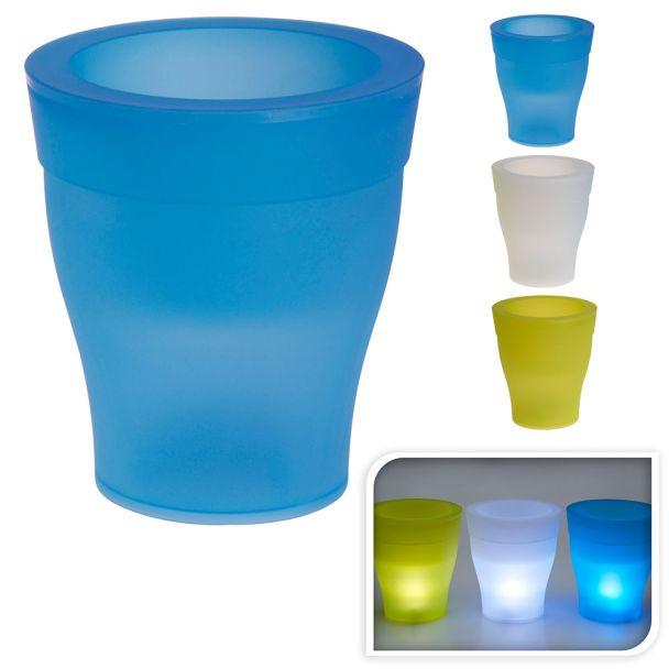 Blumentopf mit LED-Beleuchtung, blau