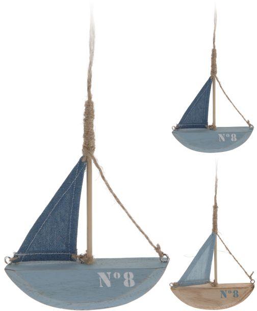 Deko Hänge-Boot aus Holz, hellblau