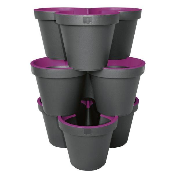 'E&K' 3er Säulentopf, purple