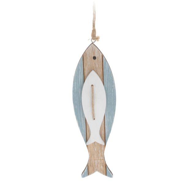 Deko Hänge-Fisch 'klein', blau-weiß