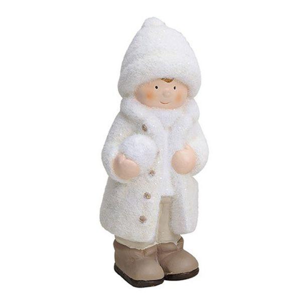 Winterkind 'Junge' aus Ton, 9 x 9 x 23 cm