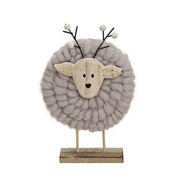 Elch aus Holz mit Wolle, 13 x 5 x 27 cm, grau