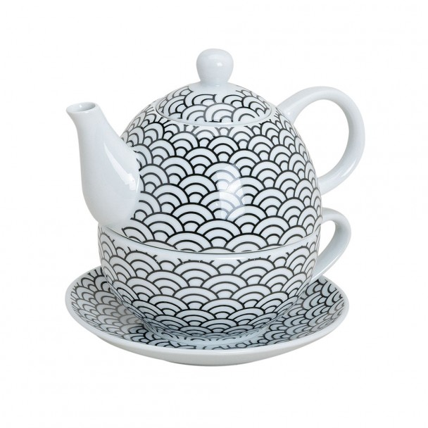 Teekannen-Set 'Retro', rund, 3-tlg., rund gemustert