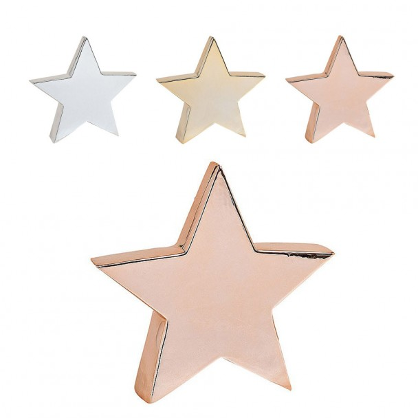 Stern aus Keramik, 21 x 5 x 20 cm, kupfer