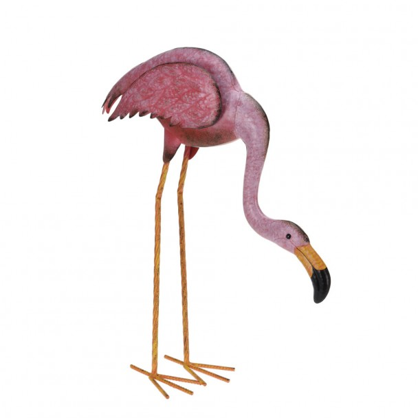 Deko Flamingo aus Metall, bückend