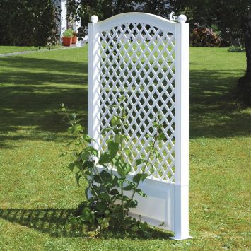 Spalier mit Erdspieß, 100 cm in Weiß