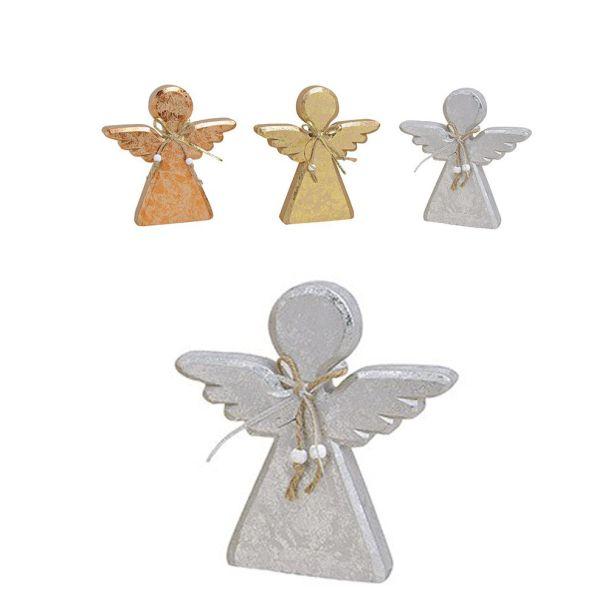 Engel aus Holz, 13 x 2 x 14 cm, silber