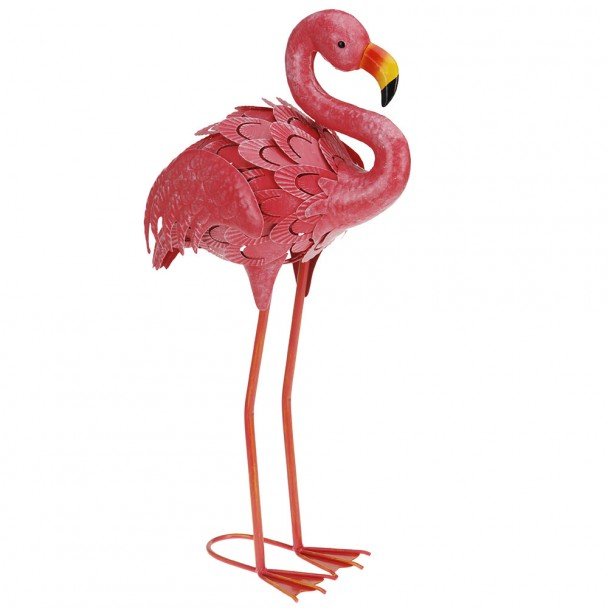 Deko Flamingo aus Metall, stehend, 55 cm
