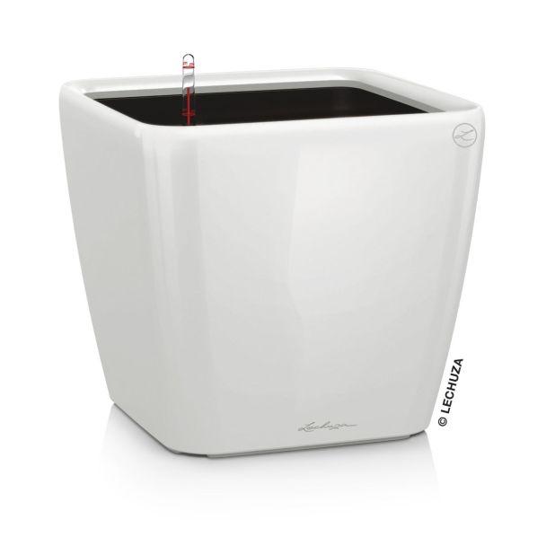 LECHUZA® QUADRO LS 35 (16160) All-in-One Set, weiß, hochglanz