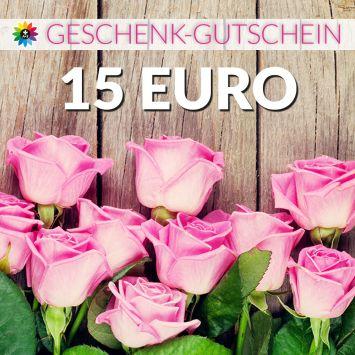 Geschenk-Gutschein, Wert 15 Euro Rosen