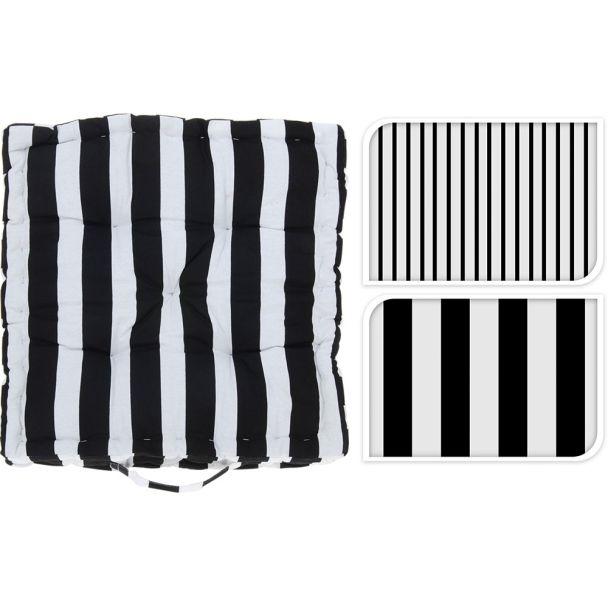 Stuhlkissen mit Griff und Streifen, 40 x 40 x 8 cm