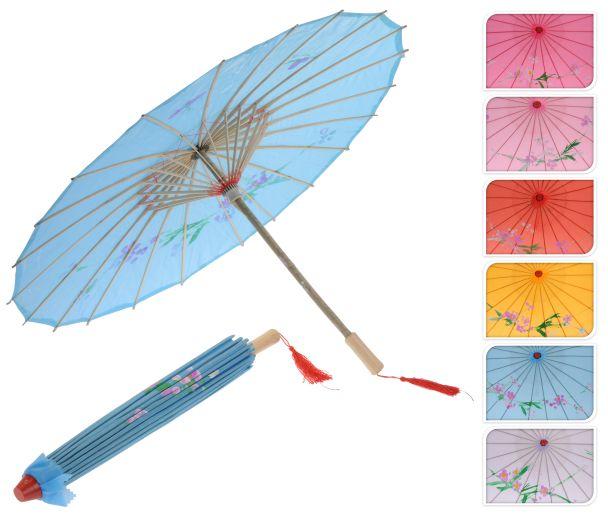 Deko Bambus Schirm, 53 cm, blau