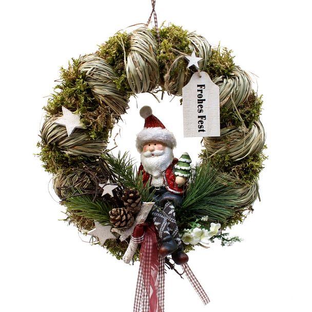 Dekorierter Türkranz Weihnachtsmann - NaturProdukt