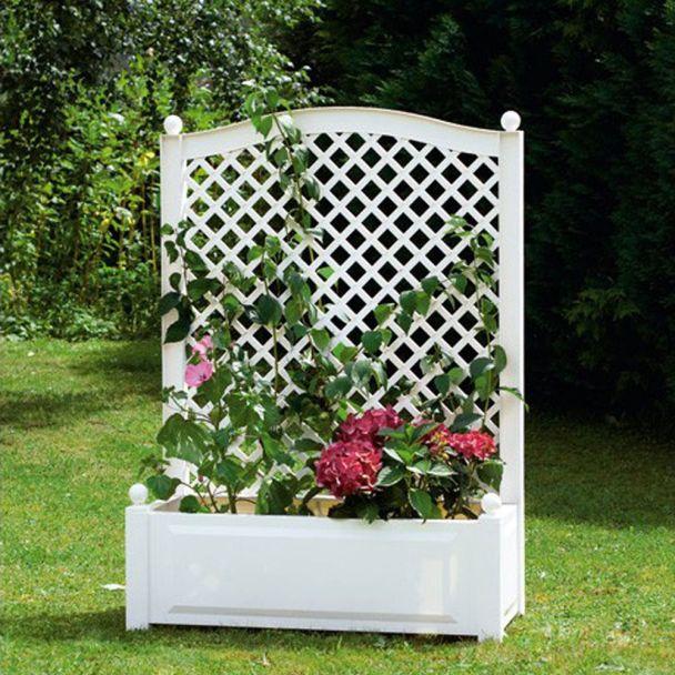 Pflanzkasten mit Spalier, 100 cm in Weiß