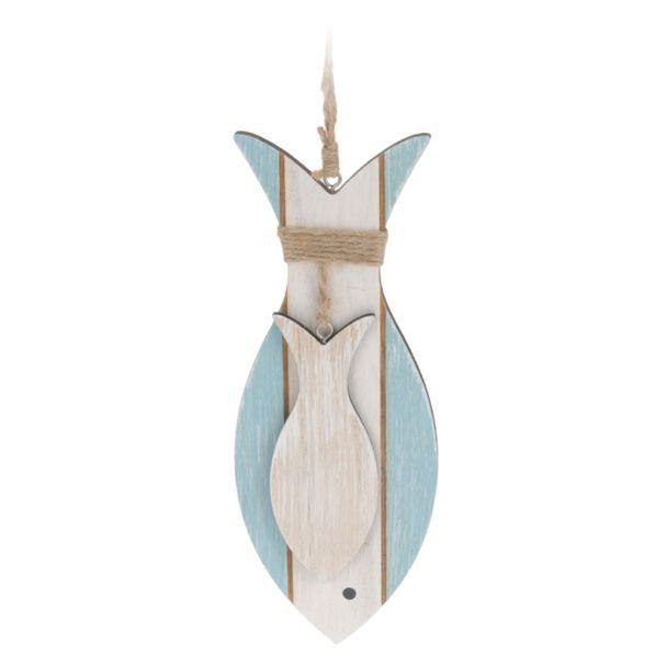 Deko Hänge-Fisch 'groß', hellblau-weiß