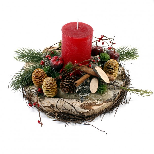 Rundes Gesteck mit roter Kerze - NaturProdukt
