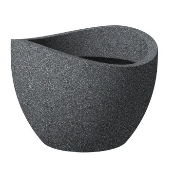 'wave globe®' Schwarz-Granit 30 cm Pflanzgefäß