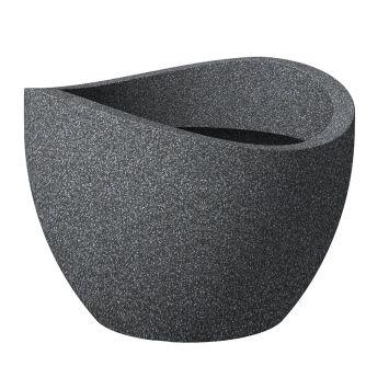 'wave globe®' Schwarz-Granit 40 cm Pflanzgefäß
