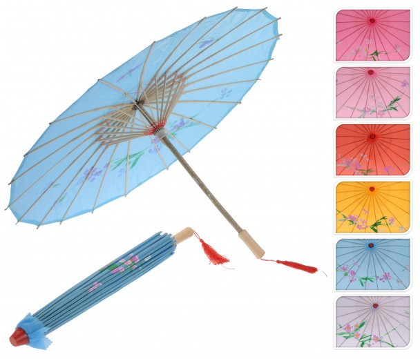 Deko Bambus Schirm, 53 cm, rosa