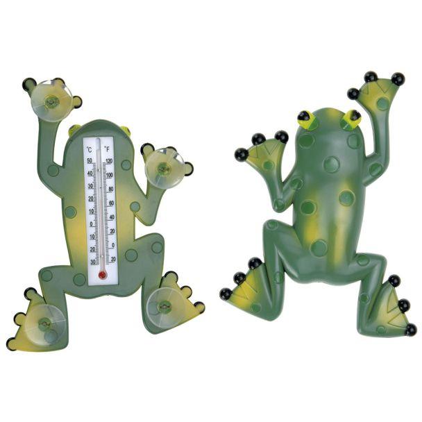 Thermometer, 23 x 17cm, Frosch mit Saugnapf