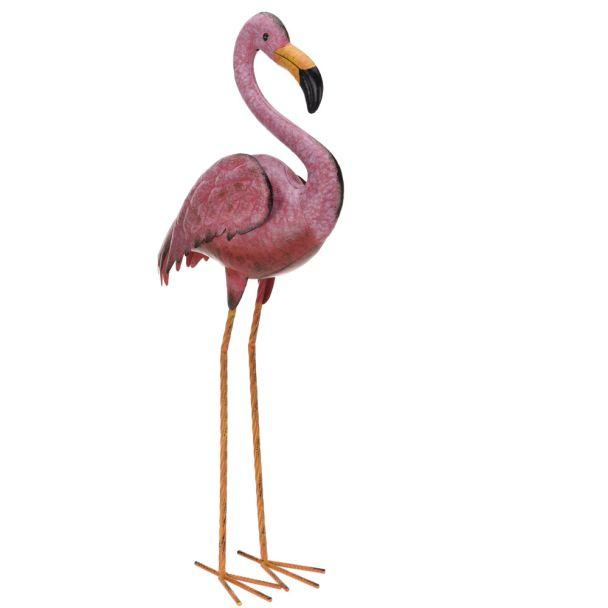 Deko Flamingo aus Metall, stehend, 70 cm